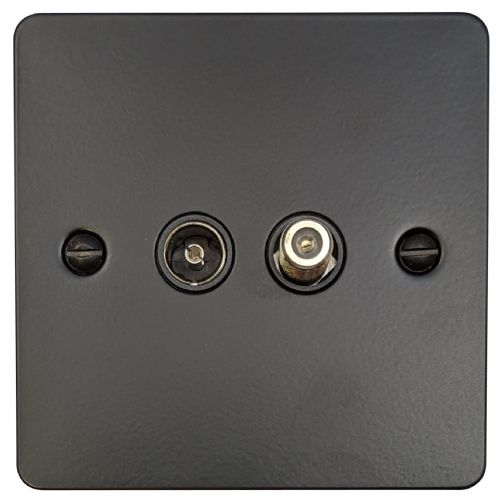 G&H FFB38B Flat Plate Matt Black 1 Gang TV Coax & Satellite Socket Point